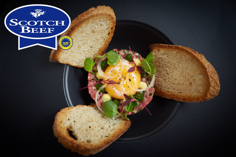 One Square Scotch Beef steak tartare with confit egg yolk, toasted sourdough and parsley gel - 8