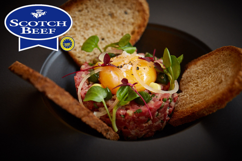 One Square Scotch Beef steak tartare with confit egg yolk, toasted sourdough and parsley gel - 9