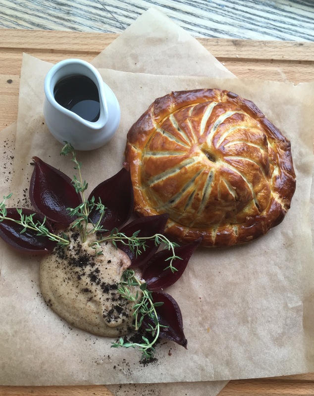 Slow braised turkey and cranberry pithivier, burnt bread sauce and turkey gravy.
