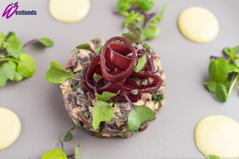 Venison tartare with pickled shallot rings, mustard cream and a micro salad of watercress and red cabbage - 2