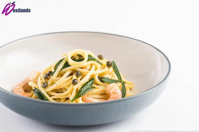 Linguine with Westlands Rock samphire, Capers and Prawns