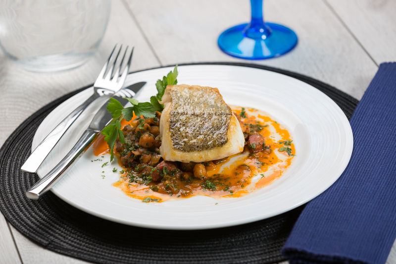 Oven Baked Fillet of Hake with Chorizo and Chick Peas