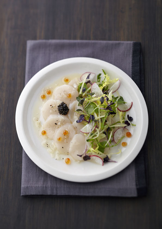 Scottish King Scallop Ceviche with Blanched Korean Ginseng, Oscietra Caviar & Hazelnut-Lime Sauce