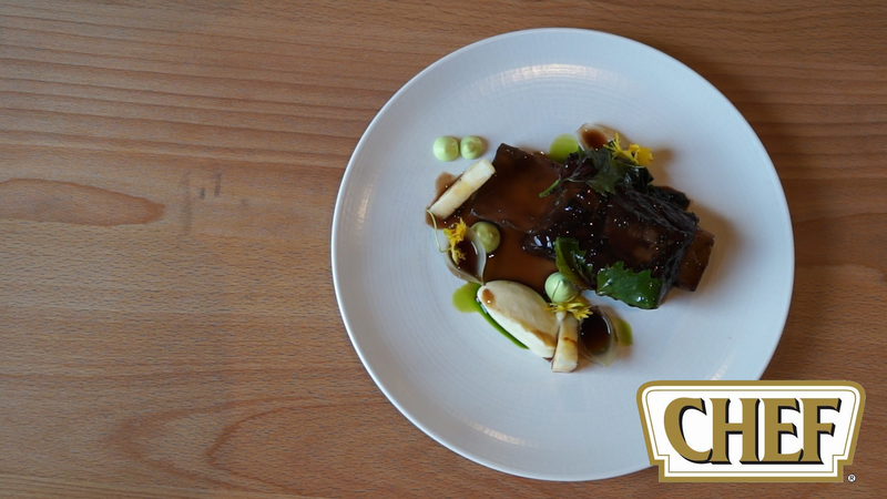 Braised Beef Ribs with Tarragon Emulsion, Celery Fondant and Pickled Port Wine Onions - 1