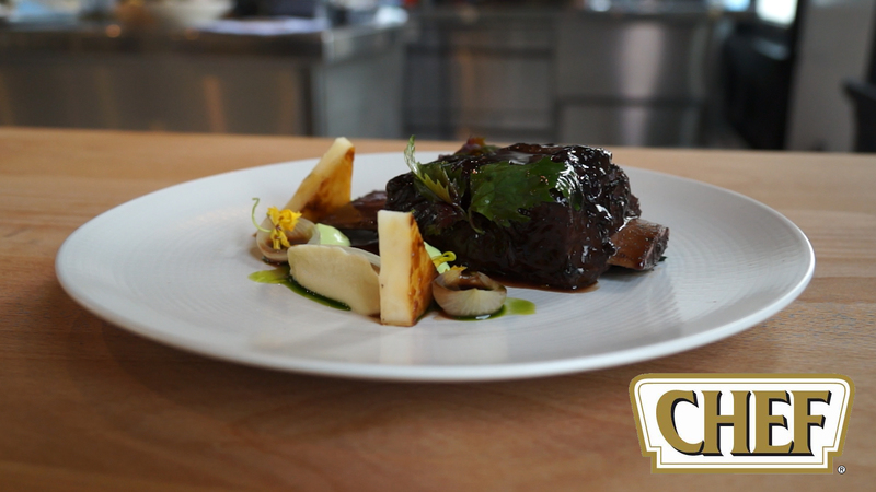 Braised Beef Ribs with Tarragon Emulsion, Celery Fondant and Pickled Port Wine Onions - 4
