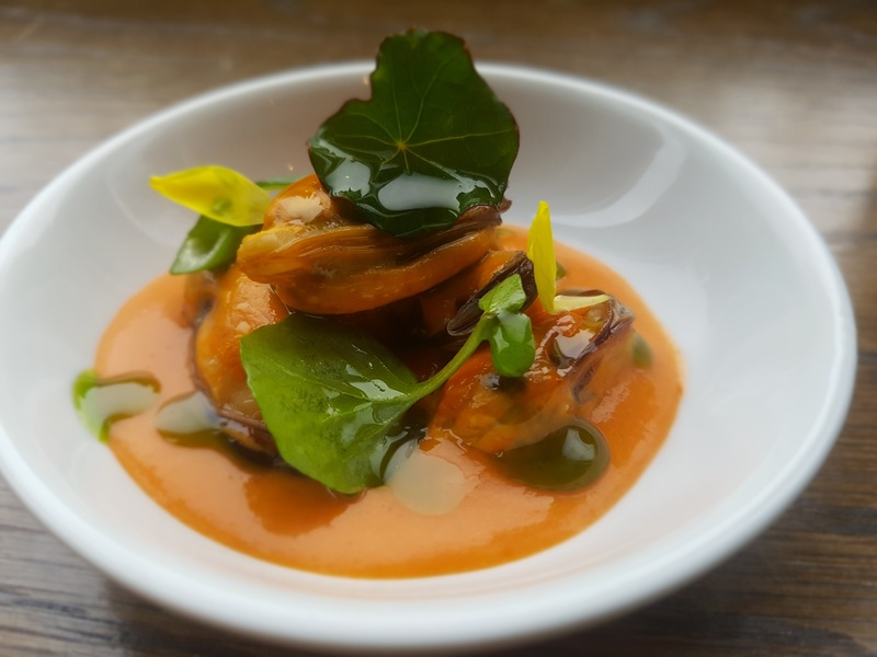Giant Cromane Mussels, smokey onion, ancho chilli, mussel stock sauce