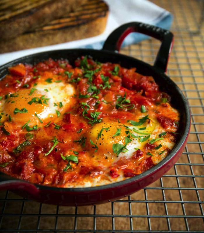 Baked eggs with Chorizo; taken from 'Back in the saddle""