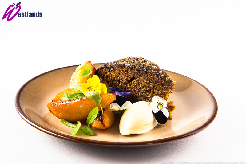 Sticky ginger cake, roast quince, Westlands lemon sorrel micro leaf - 2