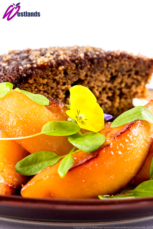 Sticky ginger cake, roast quince, Westlands lemon sorrel micro leaf - 3