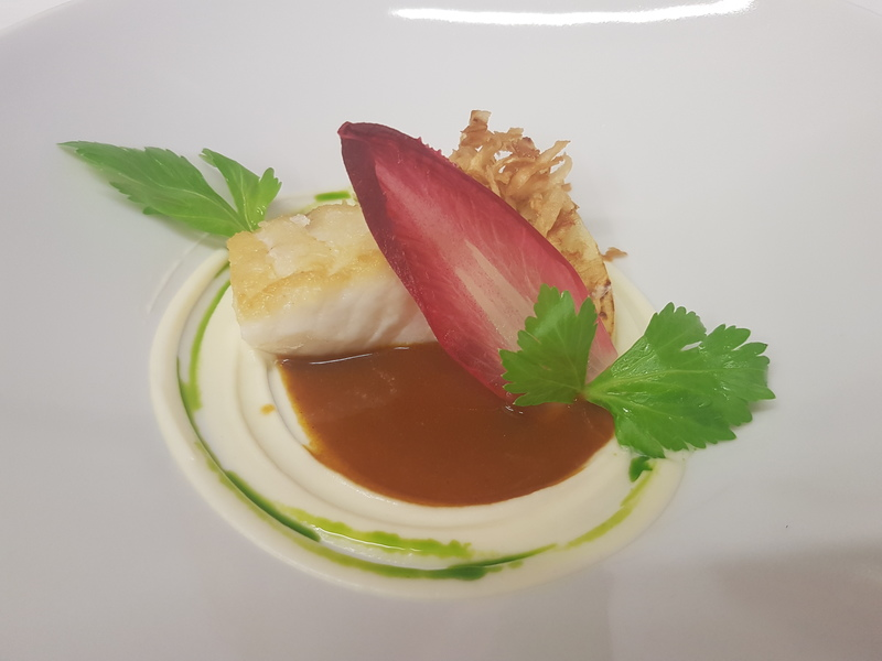 SKREI COD, FISH SAUCE, CELERIAC, CHICORY recipe by Fred Clapperton