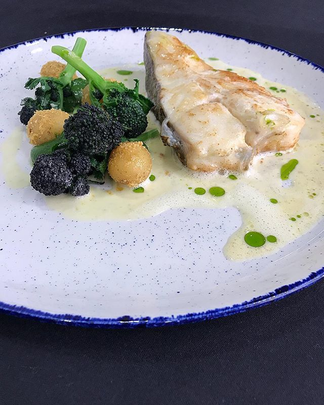 Roasted Turbot, Sprouting Broccoli, Confit Potatoes, Whey and Horseradish