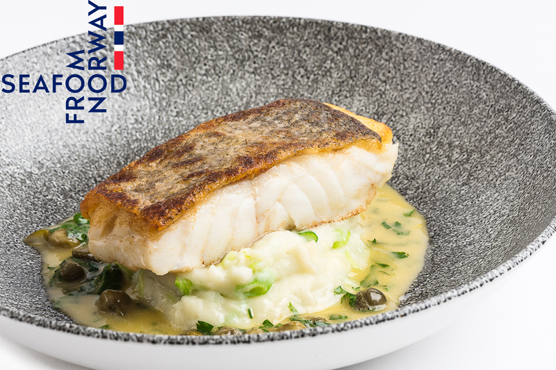 Roast Norwegian Skrei Cod with spring onion mash, caper and lemon butter sauce - 1
