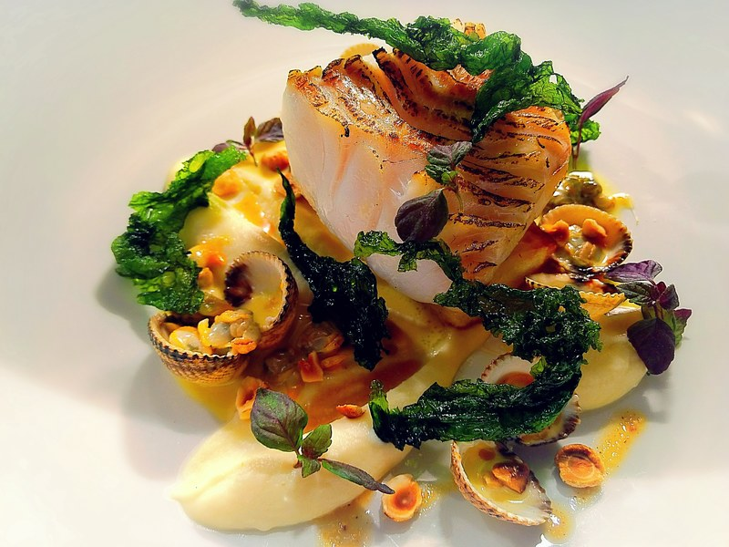 Pollock, cockles, celeriac, hazelnut and crispy seaweed
