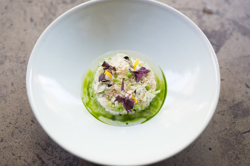 Crab, pea, macadamia, tomato, mint by Nelly Robinson at nel. - 1