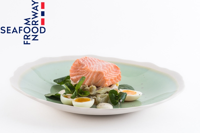 Poached Norwegian Fjord Trout with potato salad and soft boiled quails eggs - 1