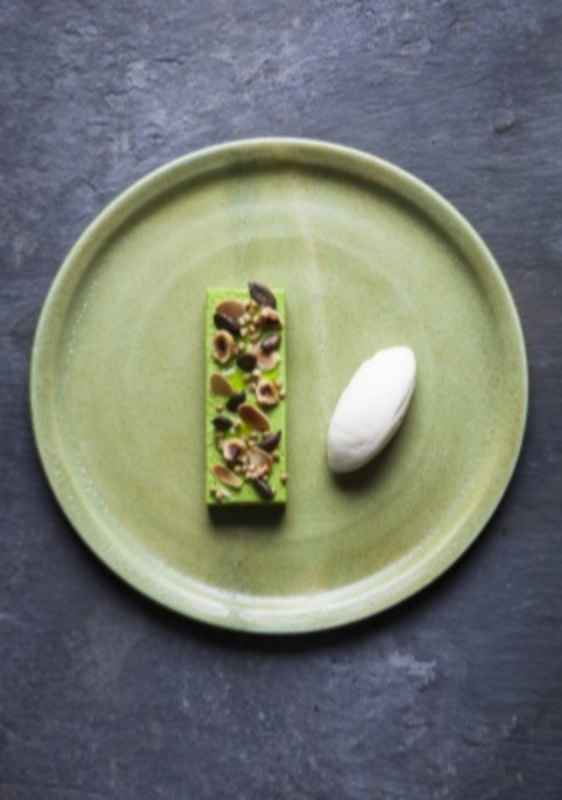 Celery Leaf Parfait with Cream Cheese Ice Cream by Tommy Banks