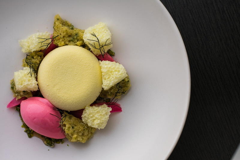 Yorkshire rhubarb, white chocolate, pistachio