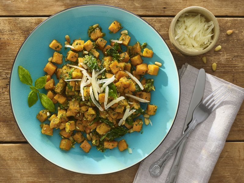 Sweet Potato Gnocchi with Basil Pesto and Pine Nuts