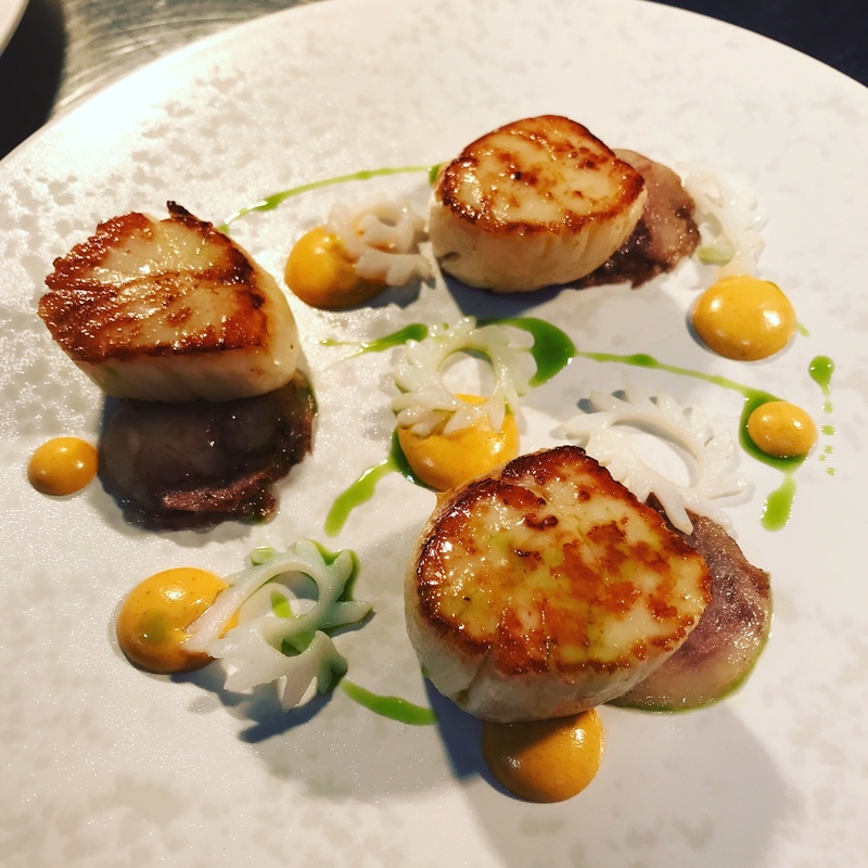 Roast Hand Dived Scallops, Rouille and Pigs Head