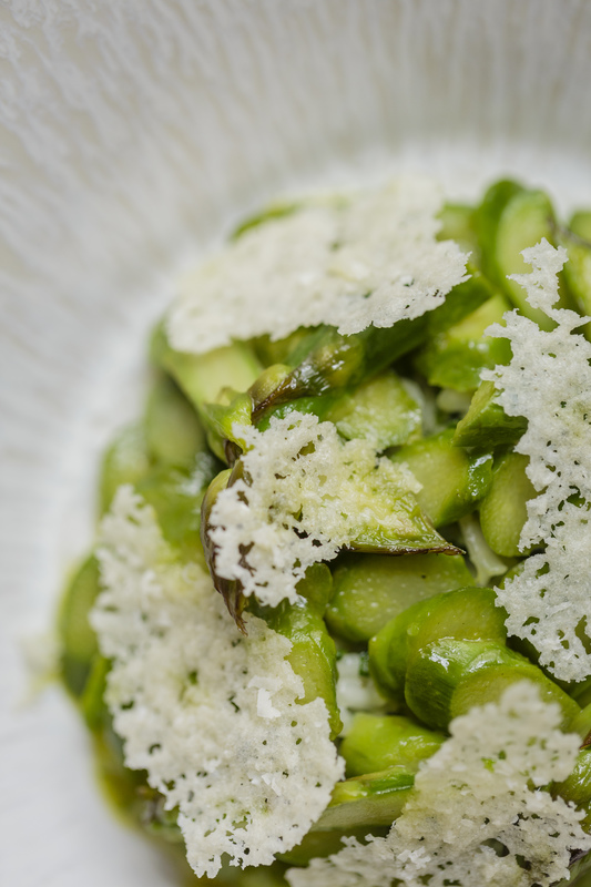 Herb risotto, asparagus, baked parmesan by Steve Groves