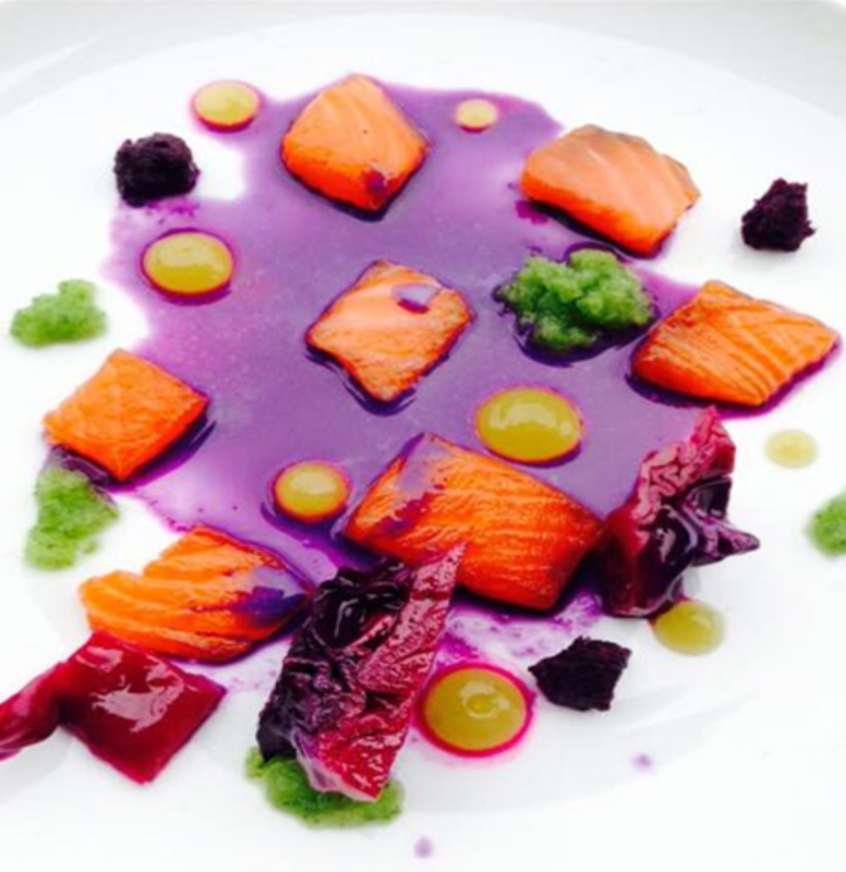 Cured Salmon, Sour Cucumber Puree, Cucumber Granita, Two Tone Cabbage, Pickled Red Cabbage Jus, Using Special Ingredients Citric Acid And Agar Agar – @maisie_munchies