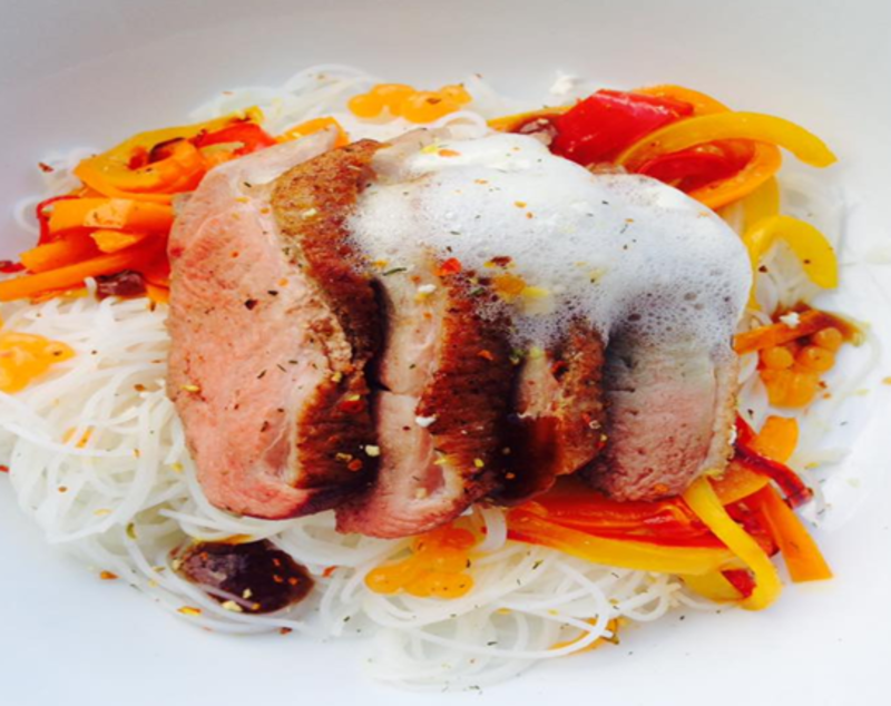Crispy Pink Duck, Garlic Noodles, Five Spice Carrot Spheres, Peppers, Soy Emulsion, Ginger And Pineapple Foam Using Special Ingredients Calcium Lactate, Sodium Alginate, Sodium Citrate, Lecithin And Xanthan Gum - @maisie_munchies