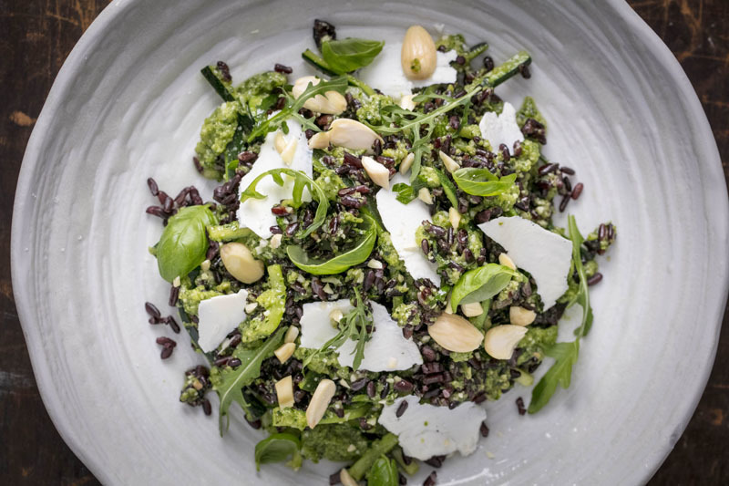 RISO GALLO VENERE RICE SALAD WITH COURGETTE PESTO, ALMOND AND SHAVED RICOTTA RECIPE by MasterChef: The Professionals contestant, Danilo Cortellini - 1