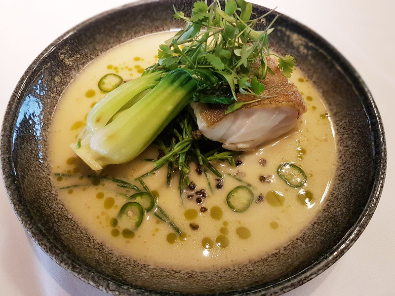 Pan-Fried Cod with Coconut and Pineapple Broth recipe by Jean-Didier Gouges