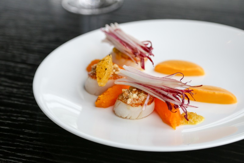 Roast Orkney Scallops With Slow Cooked Pumpkin,  Hazelnuts, Citrus Dressing  and Red Chicory Salad recipe by Dan Fletcher