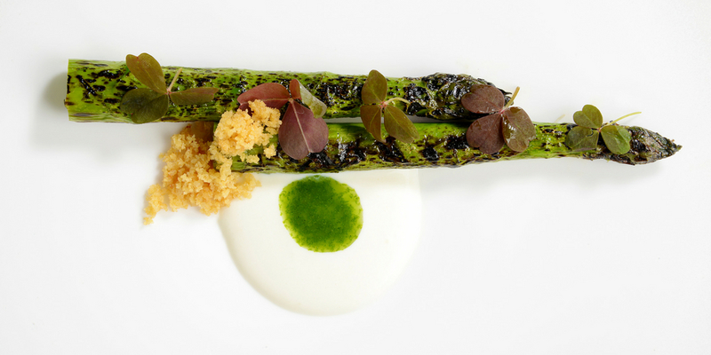 vegetarian Chargrilled Wye Valley Asparagus, Sheep's Curd and Sorrel recipe by Lisa Goodwin Allen