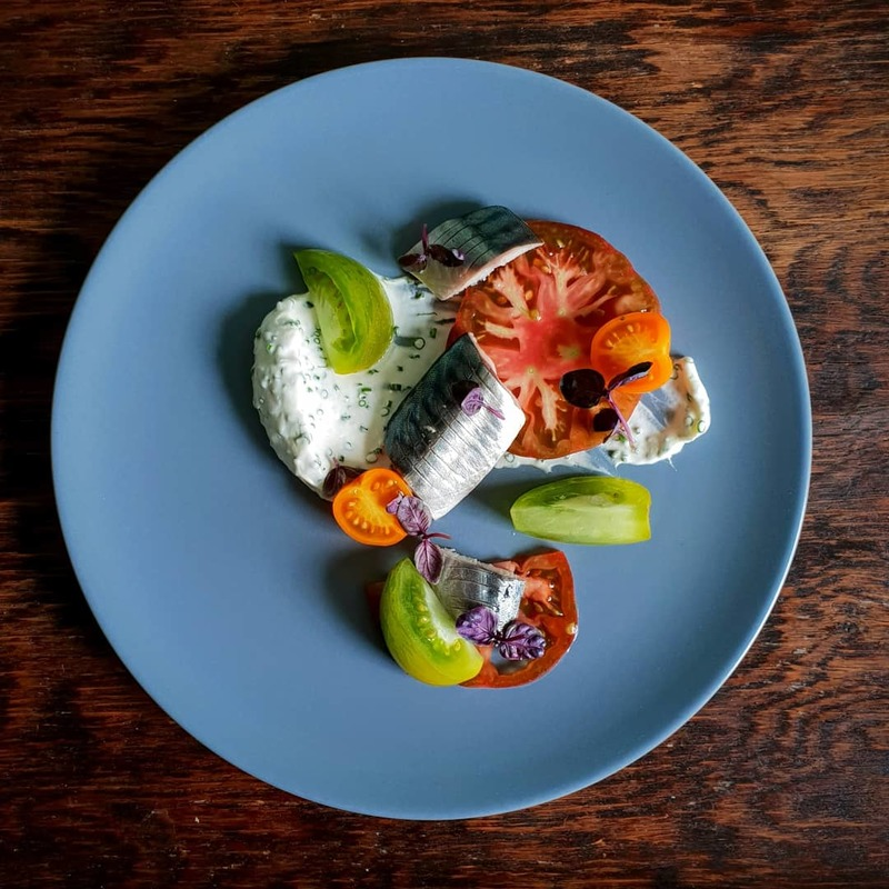 Soused Cornish mackerel | Chive creme fraiche | heritage tomatoes