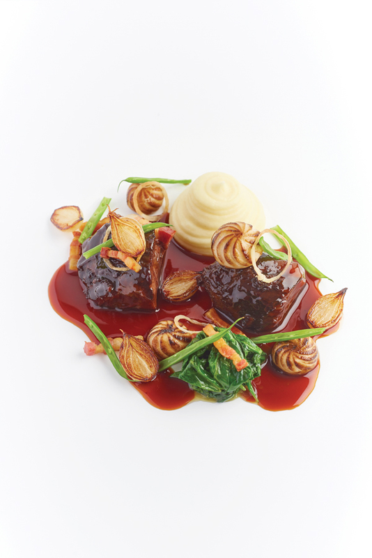 Braised Beef Cheek in Red Wine with Horseradish Mash, Mushrooms, Onions, Lardons recipe by Daniel Clifford
