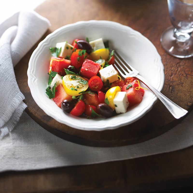 Cherry Tomato and Melon Salad with Maple Syrup recipe