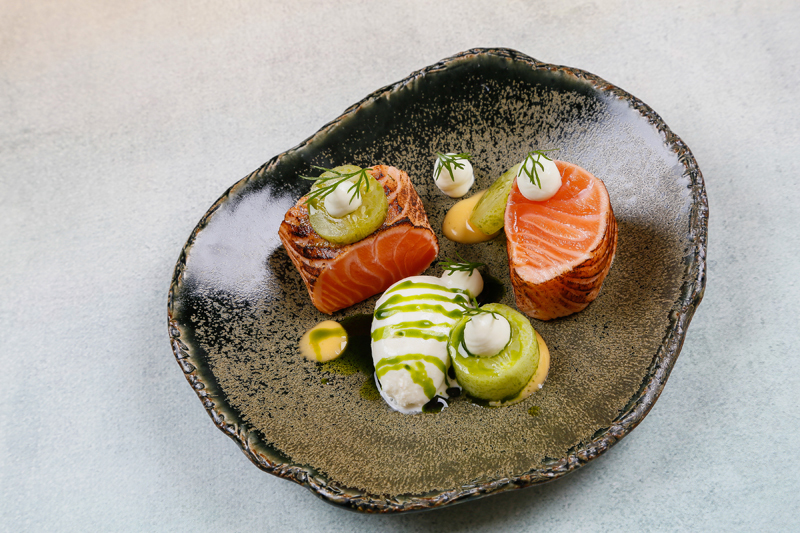 Loch Duart Salmon recipe with wasabi, cucumber and dill by Robby Jenks