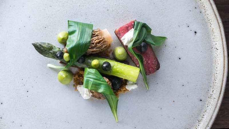 Roasted Welsh Wagyu Beef, wild garlic, buttermilk curd and asparagus by Andrew Sheridan
