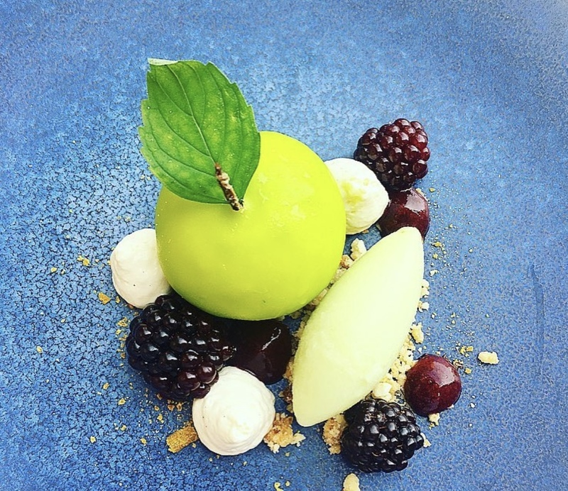 Blackberry and apple mousse, spiced blackberries, apple sorbet and vanilla mousse
