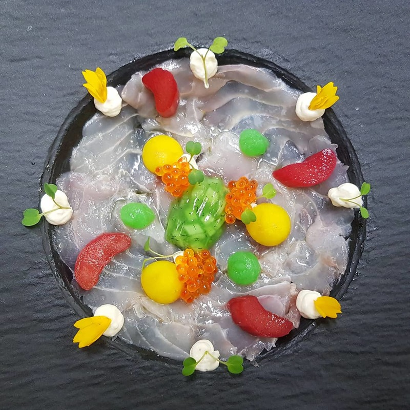 CARPACCIO of MEAGRE from Corsica :black_small_square: cucumber jelly :black_small_square: saffron apple :black_small_square: pickled rhubarb :black_small_square: granny smith gel :black_small_square: crème fraîche :black_small_square: trout caviar