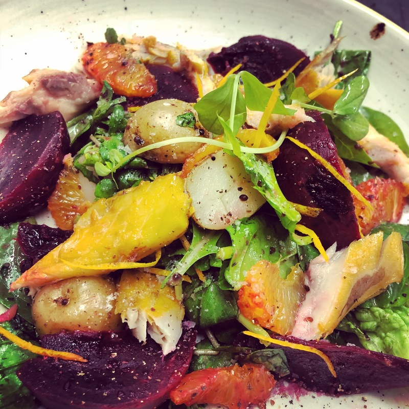 Smk. Mackarell, new potato,beetroot and Orange salad with orange And grain mustard dressing.