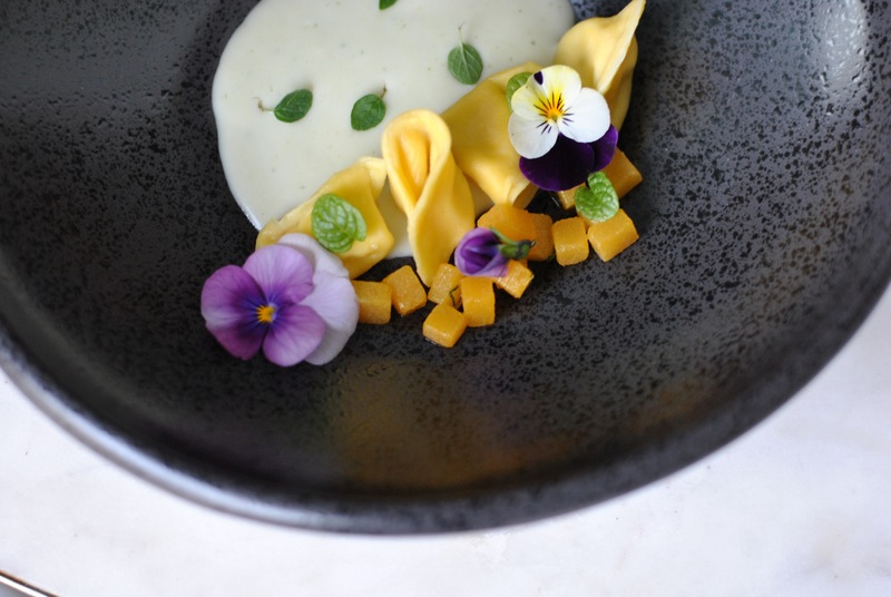 tortellini with fennel cream and wild flowers. It's been a while since I have posted.