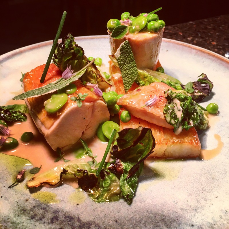 Poached breast and confit chicken wing, potato and chicken fat terrine, peas, broad beans and gem lettuce