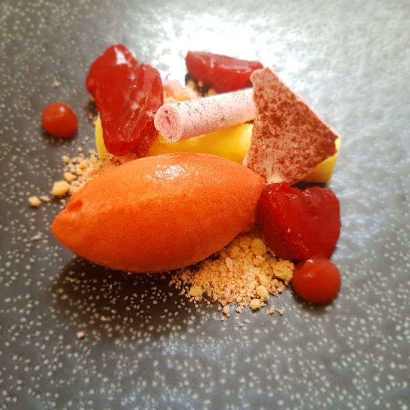 Herefordshire strawberries, lime curd, strawberry sorbet