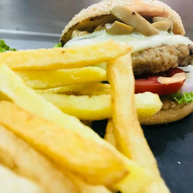 Checkout the burgers with fries which makes you delight