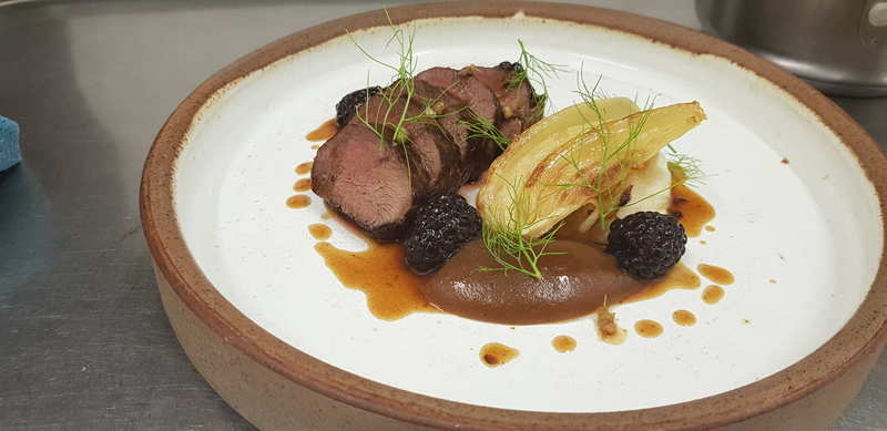 Venison loin, braised fennel, roast apple puree, wild garlic capers and pickled BlackBerry jus