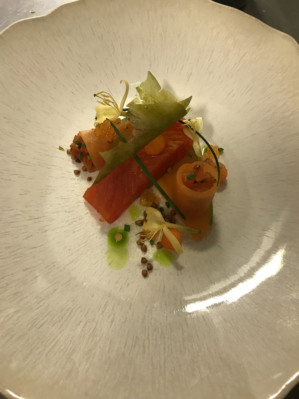 Gin curedtrout-sea arrowgrass-honeysuckle