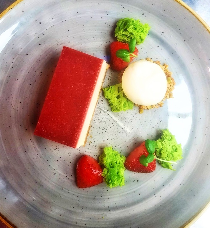 Strawberry & White chocolate cheesecake • basil • mascarpone ice cream