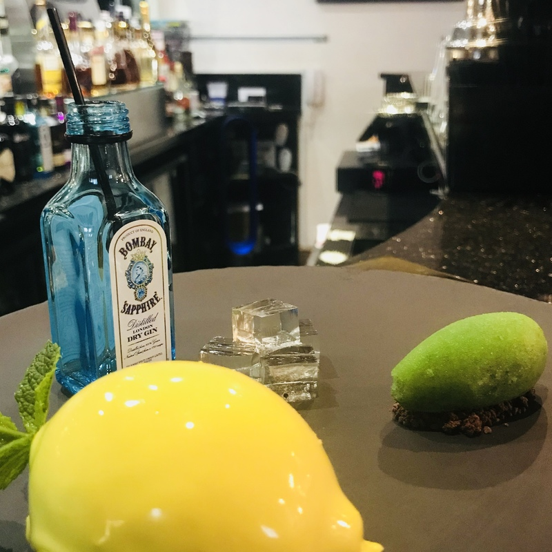 Gin tonic cheese cake,lime mint sorbet,tonic jelly and mini g@t