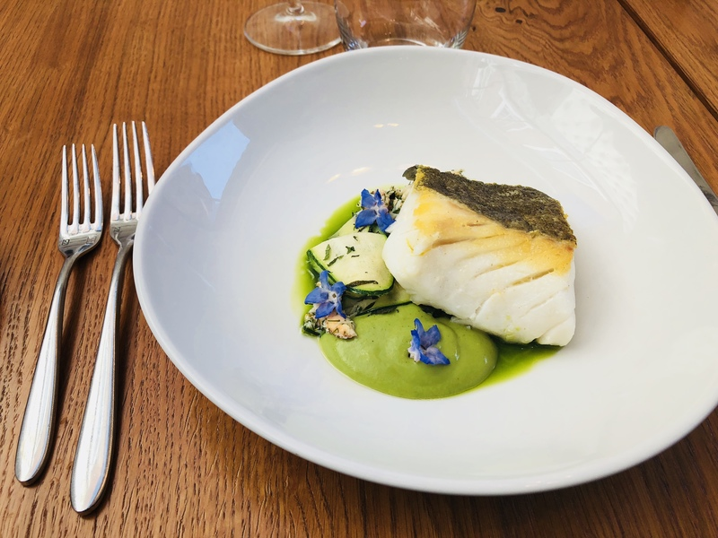 Cod, courgette, crab and mint