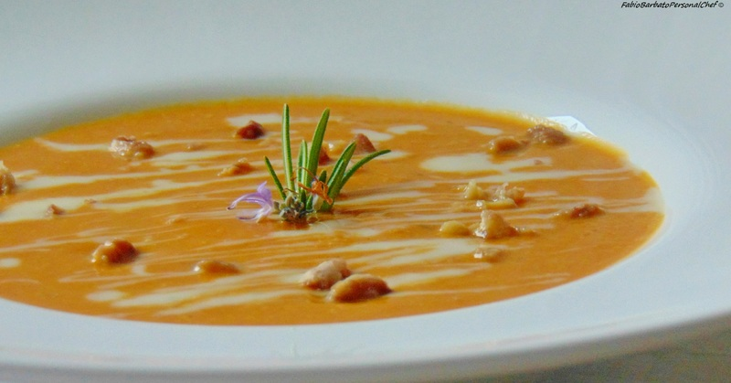 Pumpkin and chestnut potage with Gorgonzola fondant
