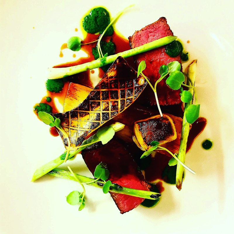 Beef rump/potato terrine/king oyster/wet garlic/watercress/smoked-poached-charred bone marrow.