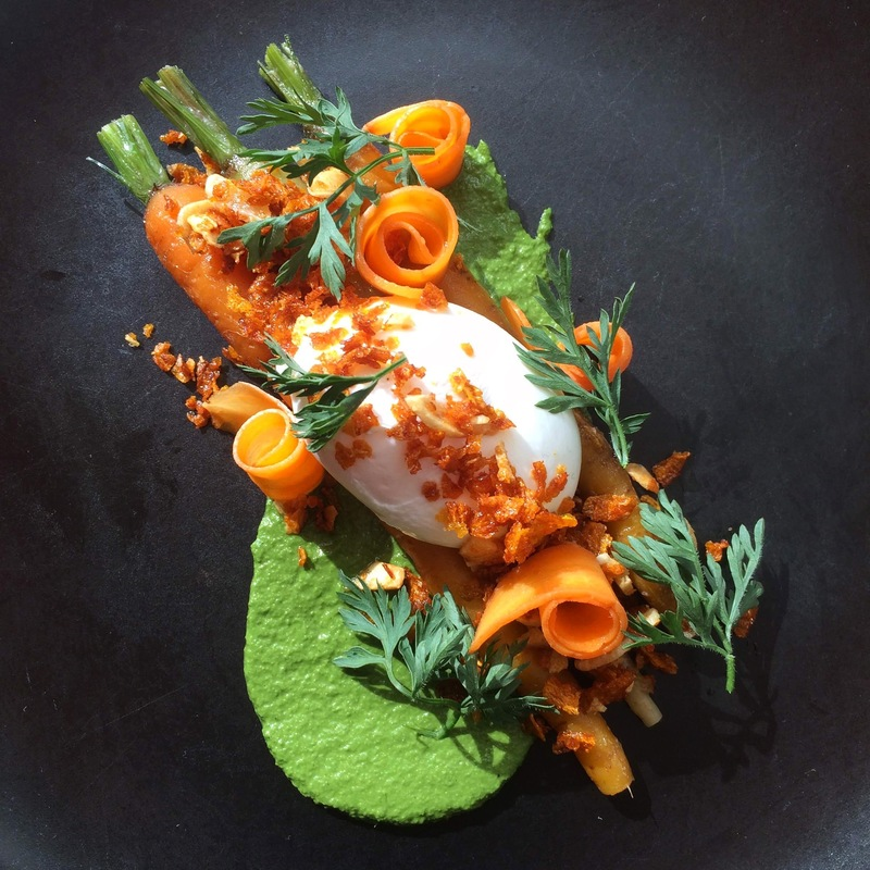 Textures of carrot & poached egg